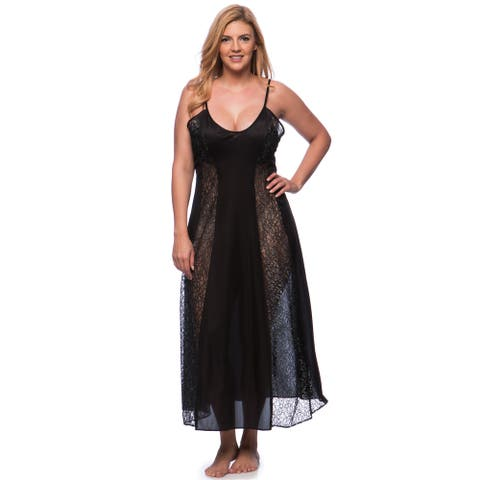 'Romance Selections' Plus Size Long Gown with Contrast Lace Panels