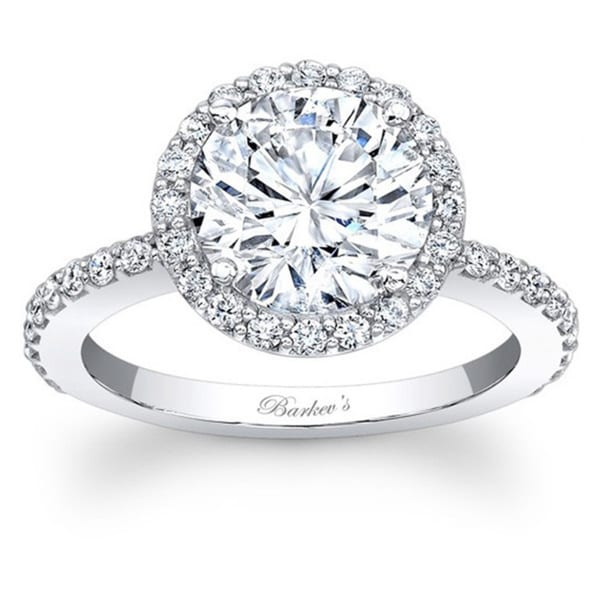 Barkev's Designer 14k White Gold 1.50ct TDW Diamond Halo Ring (F-G, SI1-SI2)