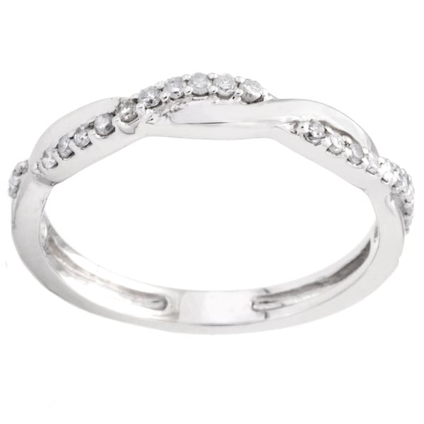 Elora 14k White Gold 1/6ct Diamond Bridal Wedding Band Ring
