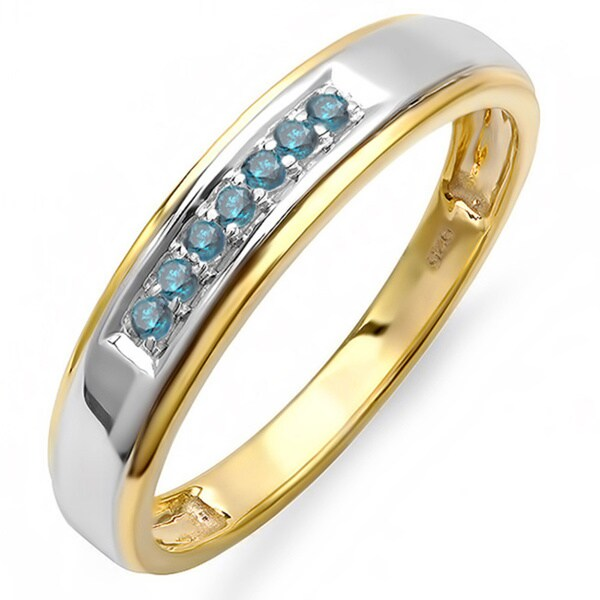 Elora 18k Goldplated Sterling Silver 1 5ct TDW Blue Diamond Mens Wedding Band