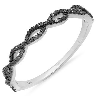 Elora 10k White Gold 1/5ct TDW Black Diamond Braided Band Ring