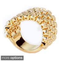 Sonia Bitton Yellow Gold or Platinum Plated Sterling Silver Five-row Cubic Zirconia Flex Ring