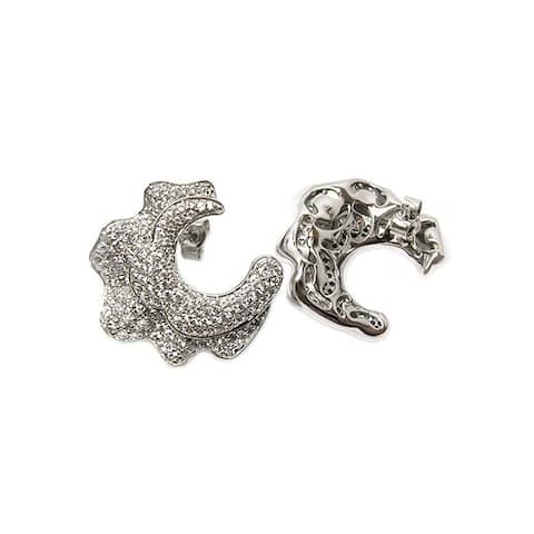 Sonia Bitton Platinum-plated Sterling Silver Cubic Zirconia Ruffle Earrings