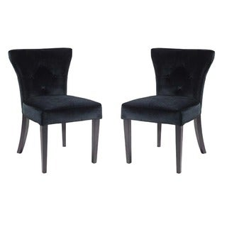 Elise Black Velvet Flared-back Side Chair (set of 2)