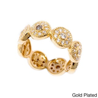 Sonia Bitton Gold or Platinum-plated Sterling Silver Cubic Zirconia Halo Eternity Ring (3 options available)