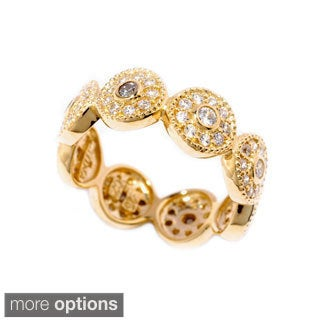 Sonia Bitton Gold or Platinum-plated Sterling Silver Cubic Zirconia Halo Eternity Ring