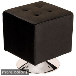 Armen Living Pica Square 360-degree Swivel Velvet Ottoman