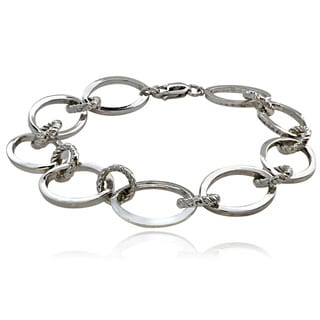 Mondevio Sterling Silver Oval and Rope Design Link Bracelet