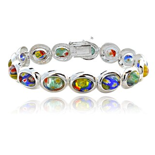 Glitzy Rocks Sterling Silver Multi-color Glass Link Bracelet
