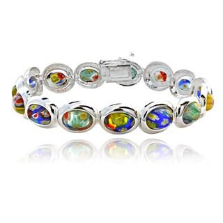 Glitzy Rocks Sterling Silver Multi-color Glass Link Bracelet