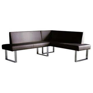 Amanda Black Leatherette Corner Sofa