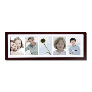 Adeco Decor Walnut Color Wood Wall Hanging Picture Photo Frame with Mat, and Five 5x7-inch Openings