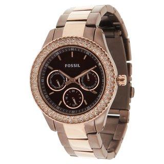 Fossil Women's 'Stella' Brown Rose Goldtone Watch
