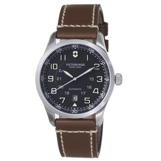 Swiss Army Men's 241507 'Air Boss' Black Dial Brown Leather Strap Automatic Watch