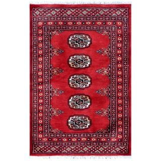 Herat Oriental Pakistani Hand-knotted Bokhara Red/ Black Wool Rug (2' x 3')