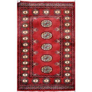 Herat Oriental Pakistani Hand-knotted Bokhara Wool Rug (2'6 x 3'9)