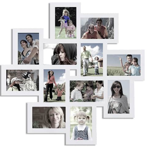 White Wall Collage Frame with Twelve 4x6-inch Openings