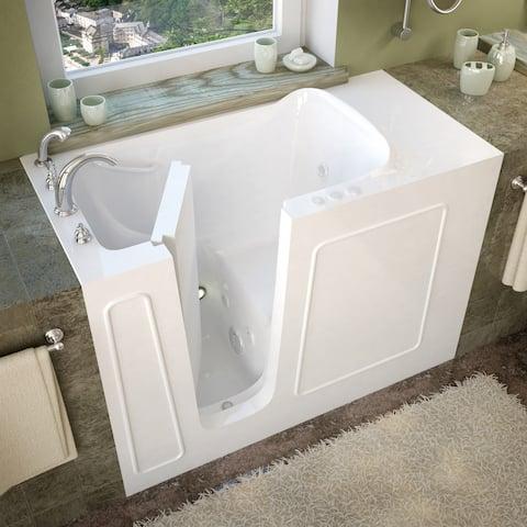 MediTub 26x53-inch Left Drain White Whirlpool Jetted Walk-In Bathtub