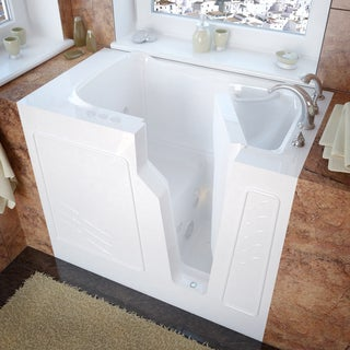 MediTub 26x46 Inch Right Drain White Whirlpool Jetted Walk In Bathtub