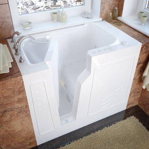 MediTub 26x46-inch Left Drain White Dual Jetted Walk-In Bathtub