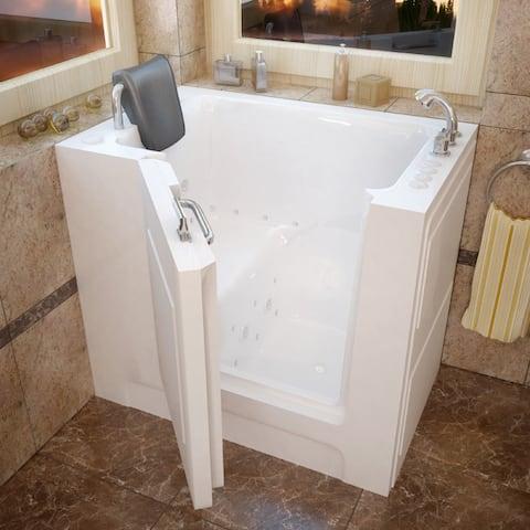 MediTub 27x39-inch Right Drain White Dual Jetted Walk-In Bathtub