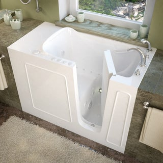 MediTub 26x53-inch Right Drain White Whirlpool & Air Jetted Walk-In Bathtub