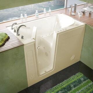 MediTub 30x54-inch Left Drain Biscuit Whirlpool & Air Jetted Walk-In Bathtub