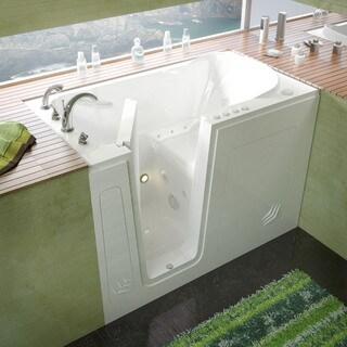 MediTub 30x54 Inch Left Drain White Whirlpool U0026 Air Jetted Walk In Bathtub