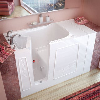 MediTub 30x53-inch Left Drain White Whirlpool & Air Jetted Walk-In Bathtub