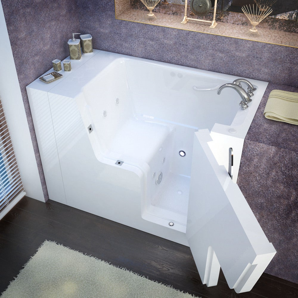 MediTub Wheelchair Accessible 29x53-inch Right Drain White Whirlpool Jetted Walk-In Bathtub (29x53 inch, Hydro Tub, White, Right)