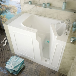 MediTub 29x52-inch Right Drain White Whirlpool Jetted Walk-In Bathtub