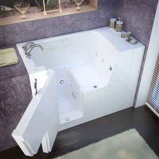 MediTub Wheelchair Accessible 29x53 Inch Left Drain White Whirlpool Jetted  Walk In Bathtub