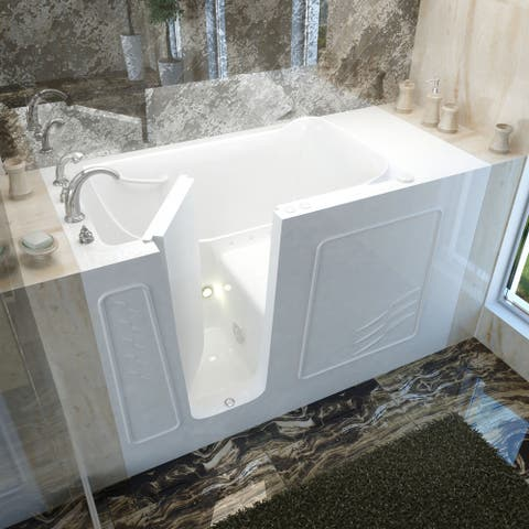 MediTub 30x60-inch Left Drain White Air Jetted Walk-In Bathtub