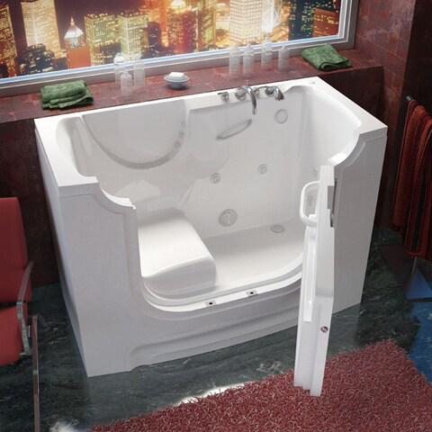 MediTub Wheelchair Accessible 30x60-inch Right Drain White Whirlpool Jetted Walk-In Bathtub