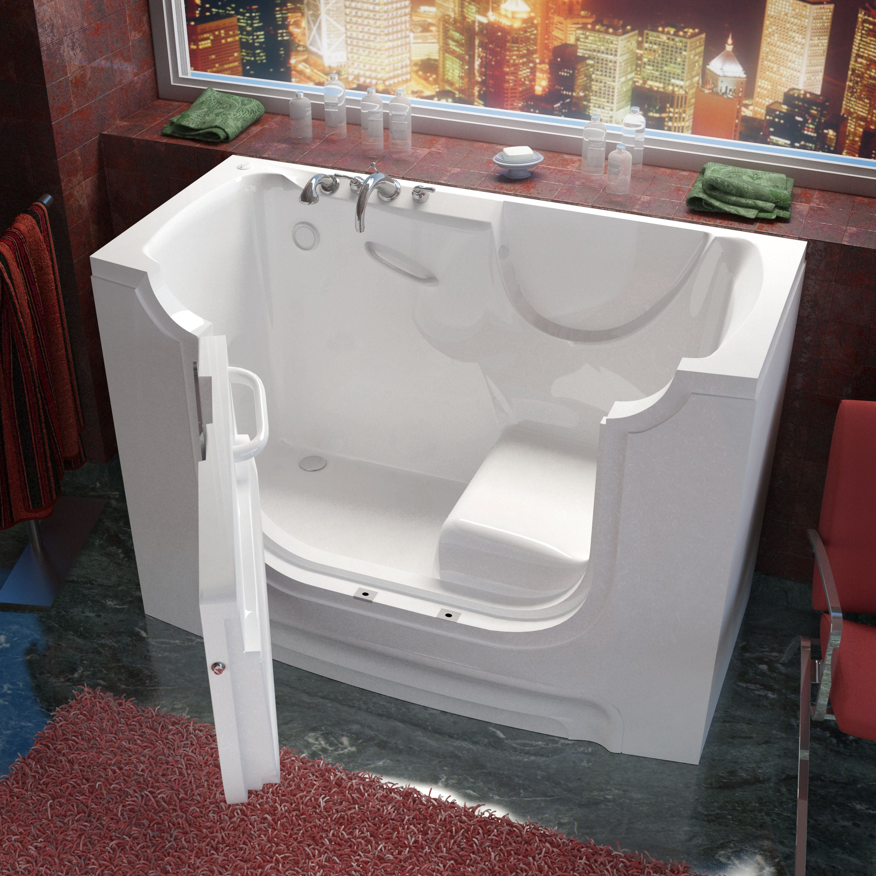 Meditub Wheelchair Accessible 30x60-inch Left Drain White...