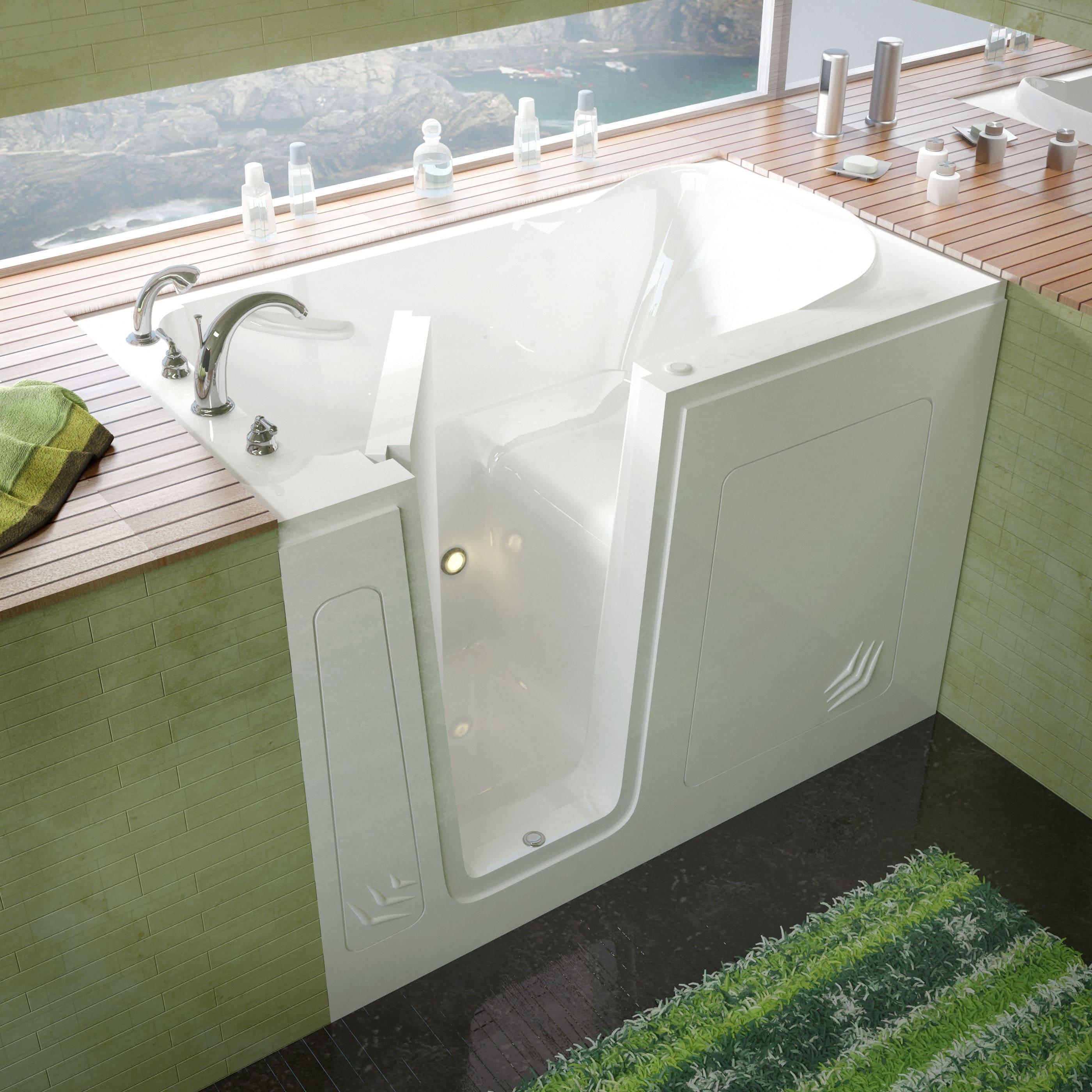 MediTub 30x54-inch Left Drain White Soaking Walk-In Batht...