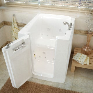 MediTub 32x38-inch Left Door White Whirlpool & Air Jetted Walk-In Bathtub