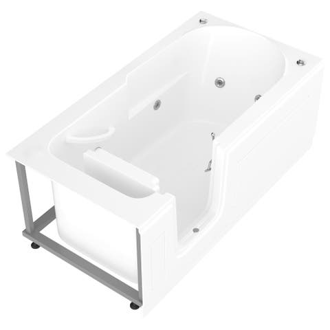 MediTub Step-In 30x60-inch Left Drain White Whirlpool Jetted Step-In Bathtub