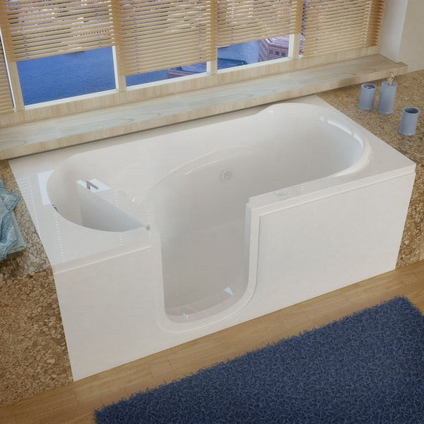 MediTub Step In 30x60 Inch Left Drain White Whirlpool Jetted Step In Bathtub
