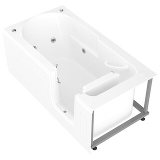 MediTub Step-In 30x60-inch Right Drain White Whirlpool Jetted Step-In Bathtub