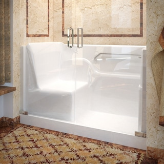 Mountain Home 30x60 Right Drain Seated Shower with Swinging Glass Doors