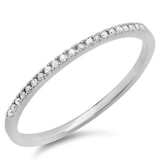 10k Rose/ White Gold Petite Diamond Wedding Band