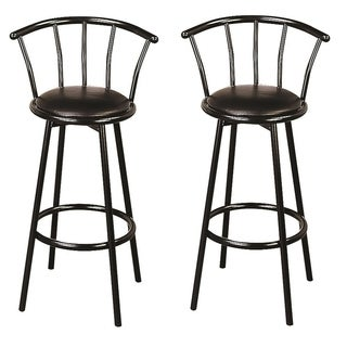 Black 30-inch Swivel Bar Stools (Set of 2)