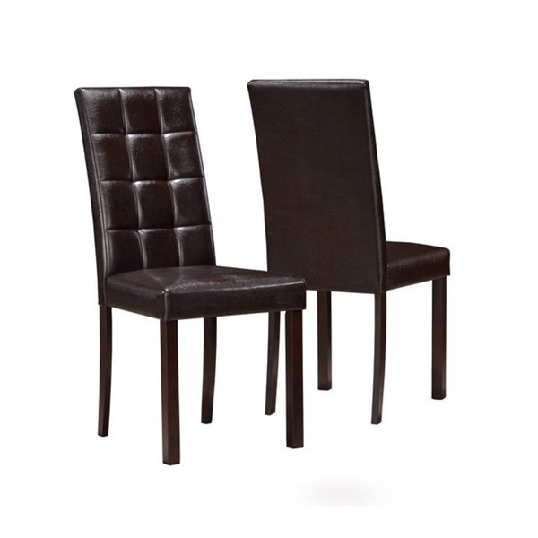 dark brown leather look dining chair set of 2 free shipping today
