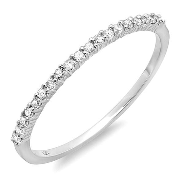 Elora 14k Gold 1/6ct TDW Round Diamond Ladies Anniversary Stackable Wedding Band