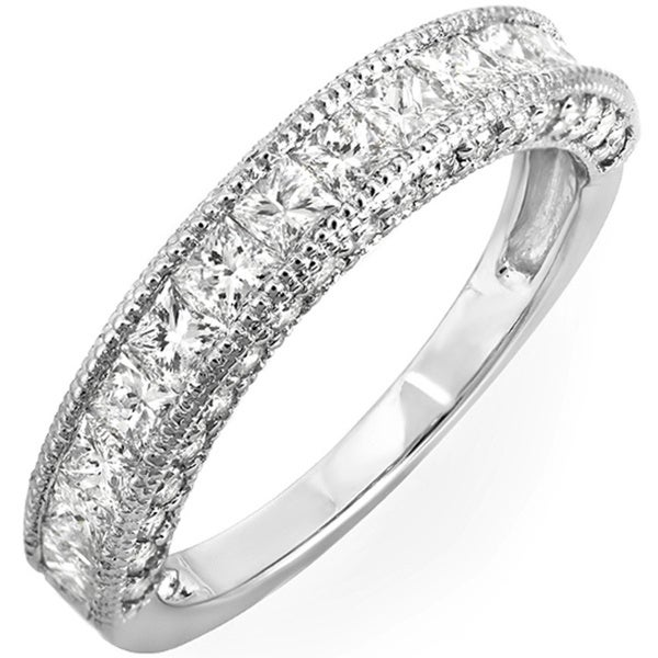 Elora 14k Gold 1 2/5ct TDW Princess Channel-set Milgrain Diamond Wedding Band