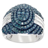 Sterling Silver 1ct TDW Colored Diamond Pave Ring