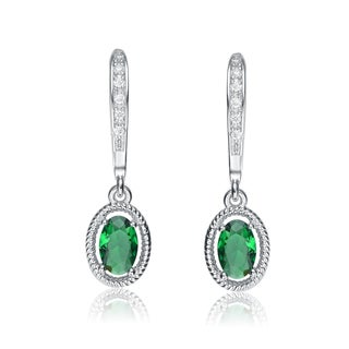 Collette Z Sterling Silver Green Cubic Zirconia Oval Dangling Earrings