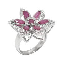 De Buman Sterling Silver Natural Ruby and Cubic Zirconia Ring