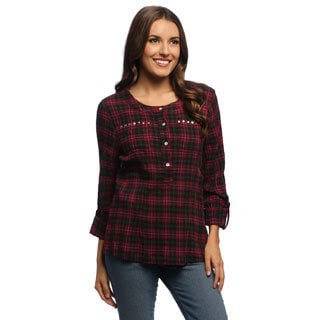 Live A Little Women's Studded Pocket Roll-sleeve Shirt